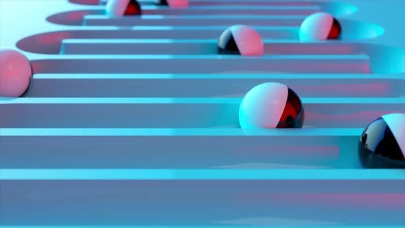 Bright Colorful Background with Rolling Balls Along the Paths