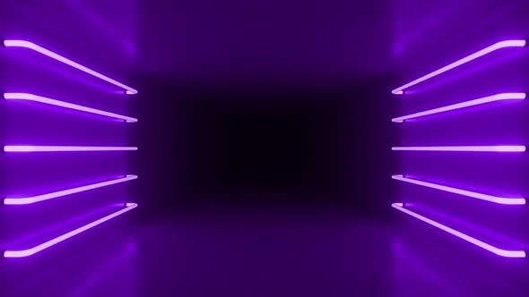 Abstract purple vivid room interior with purple glowing neon lamps