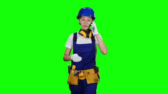 Thumbnail for Girl Goes To Work and Speaks on the Phone She Is an Engineer, Green Screen