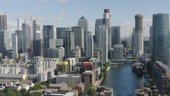 London Docklands Skyline with Modern Buildings and Skyscrapers
