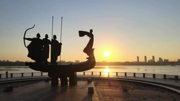 Symbol of Kyiv  a Monument To the Founders of the City in the Morning at Dawn