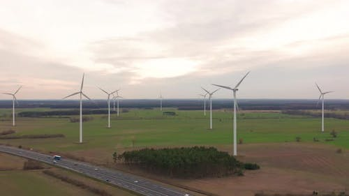 Windmill Wind Power Technology - Aerial Drone View on Wind Power, Turbine, Windmill, Energy