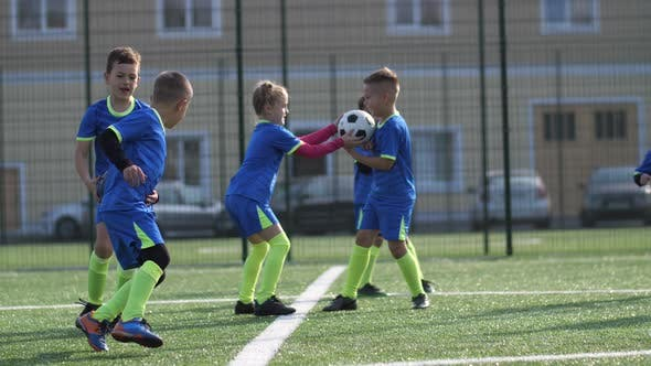 Thumbnail for Joyful Football Players Playing Catch-up on Field