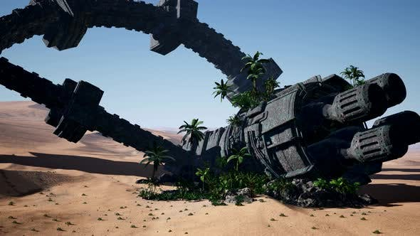 Thumbnail for Old Rusted Alien Spaceship in Desert. Ufo