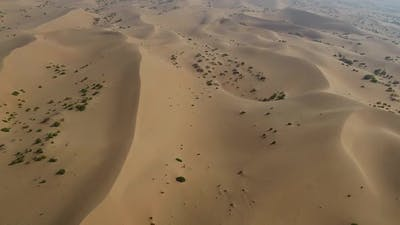 Aerial view of dunes on desert of Al Khatim in Abu Dhabi.