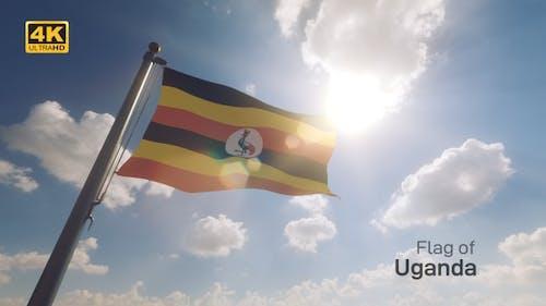Uganda Flag on a Flagpole V2 - 4K