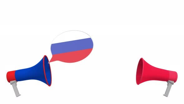 Thumbnail for Speech Bubbles with Flags of Austria and Russia and Megaphones