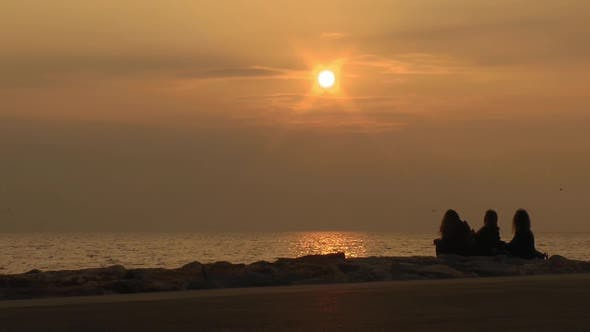 Thumbnail for Silhouette Of People Woman Posing At Yellow Sunset