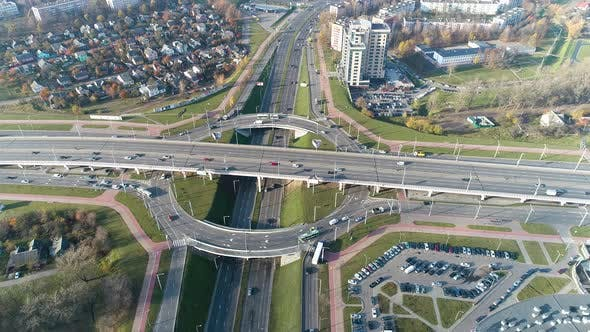 Thumbnail for Public Transport Traffic at Motorway in Metropolis. City Infrastructure. Aerial