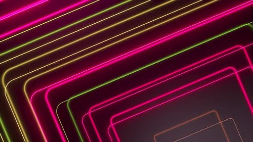 Pink Yellow Glowing Neon Lines Abstract Tech Futuristic Motion Background