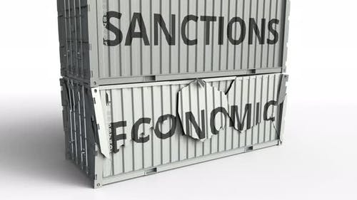Container with ECONOMIC Text Being Broken By Container with SANCTIONS Inscription