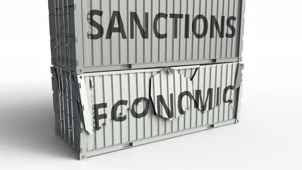 Thumbnail for Container with ECONOMIC Text Being Broken By Container with SANCTIONS Inscription