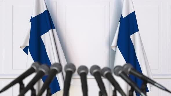 Thumbnail for Finnish Press Conference with Flags of Finland