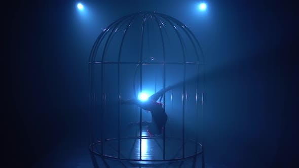 Thumbnail for Girl in a Horizontal Twine Upside Down Spinning on a Hoop in a Cage