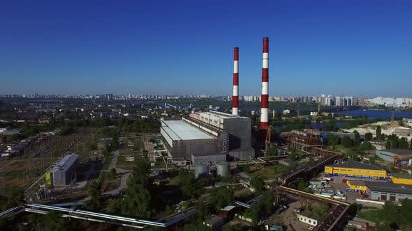 Thumbnail for Industrial Chimneys in City Architecture. Aerial View Chimney in Industrial City