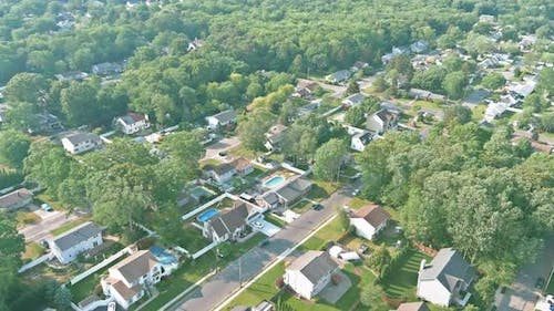 Panorama Landscape of Typical Home Complex Small American Town
