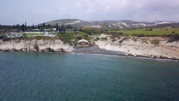 Thumbnail for Camera Is Flying From Sea Shore of Cyprus and Showing Panorama of Coastline