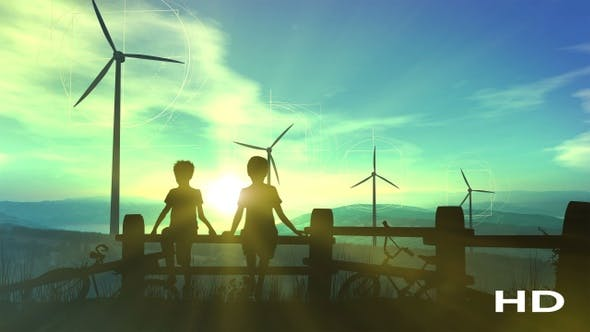 Thumbnail for Children Watching Wind Power Plants And Infographics HD