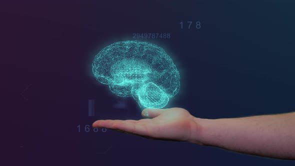 Thumbnail for Digital Brain Hologram Appears Above Male Hand With Hud Background
