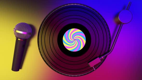 Vinyl Records Spinning and Karaoke Party with Microphone on the Party