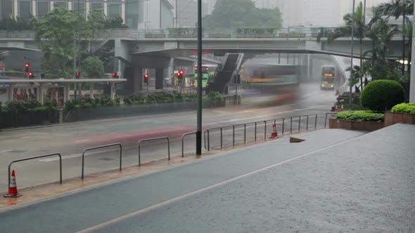 Thumbnail for Traffic on the Rainy Street of Hong Kong