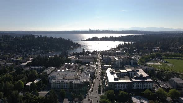 Thumbnail for Breathtaking Aerial View Of Lake Washington Over Bellevue With Seattle Skyline Background