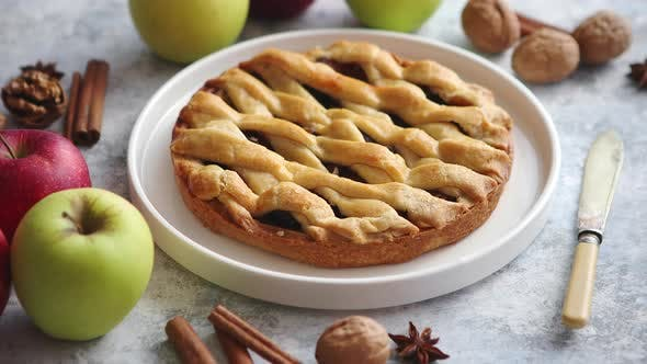 Thumbnail for Tasty Sweet Homemade Apple Pie Cake with Cinnamon Sticks, Walnuts and Apples