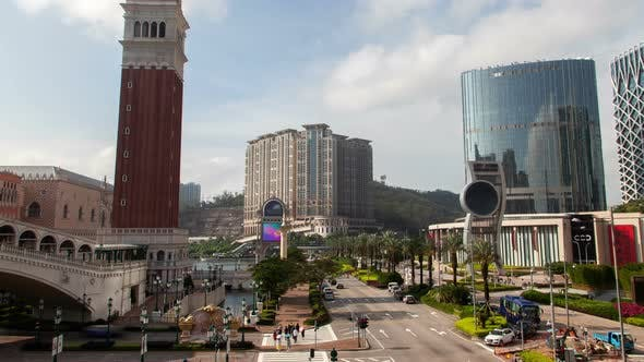 Thumbnail for Cotai Macau Street Traffic Cityscape Day Timelapse Pan Up