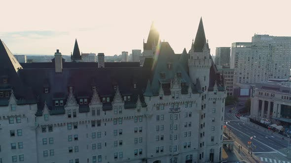 Thumbnail for Aerial view of Chateau Laurier and other buildings