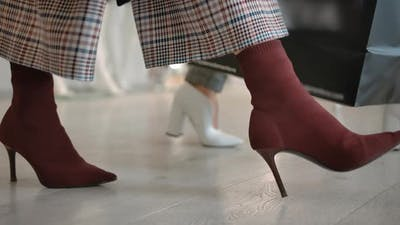 Fashionable Women Walking on Store