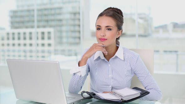 Thumbnail for Young Businesswoman Planning With Laptop And Diary