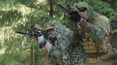 Disguised Army Soldiers On Military Operation
