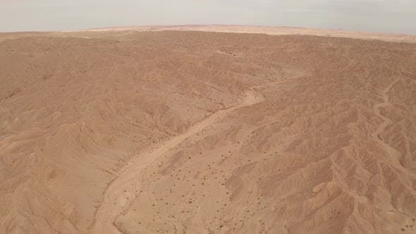 Dryness land with erosion terrain, geomorphology background.