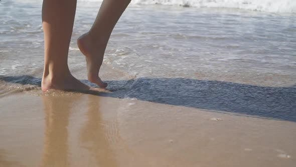 Thumbnail for Female Bare Feet Walking on the Wet Sand on the Beach. Slow Motion