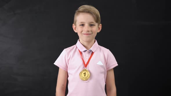 Boy With Medal, Prominent Achievement in Education, Winning Sport Competition