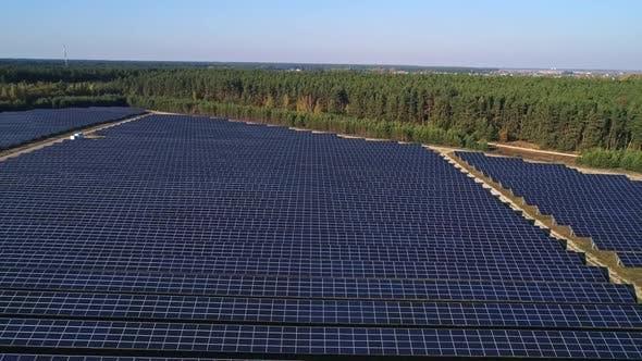 Thumbnail for Flight Over Solar Panel Farm, Renewable Green Alternative Energy