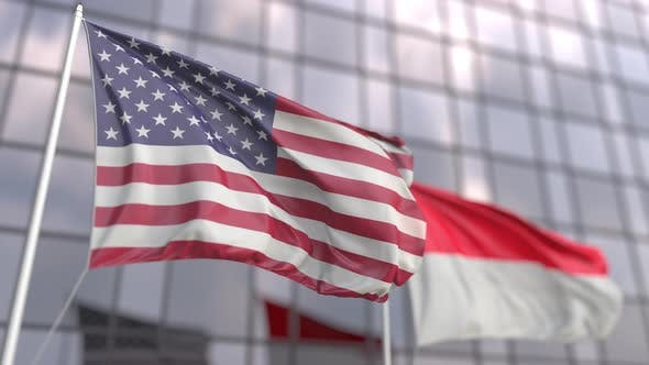 Waving Flags of the United States and Indonesia
