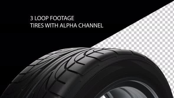 Pack Loop Spinning car tires with alpha channel