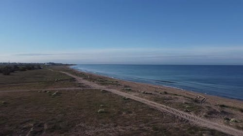 Drone Shooting Beautiful Coastline and Seascape in Bright Sunny Weather