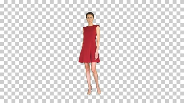 Thumbnail for Girl trying red dress turning around like, Alpha Channel