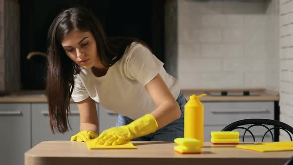 Thumbnail for Housewife Cleans Kitchen Table