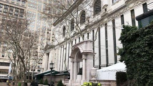 Tilt Down Shot of the New York Public Library in Midtown Manhattan