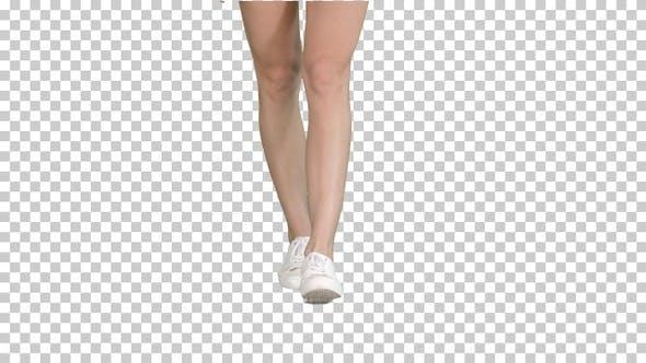 Female Legs in White Sneakers Walking, Alpha Channel