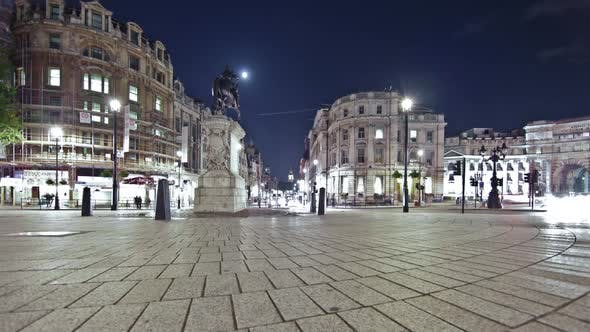 Thumbnail for Time-lapse of traffic around Charing Cross in London at night.