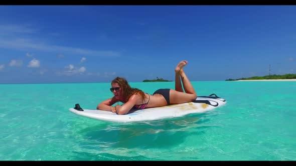 Thumbnail for Women posing on tropical coast beach trip by aqua blue lagoon and white sand background of the Maldi