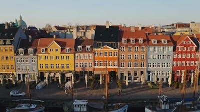 Aerial Shot of Townhouses in Nyhavn in Denmark