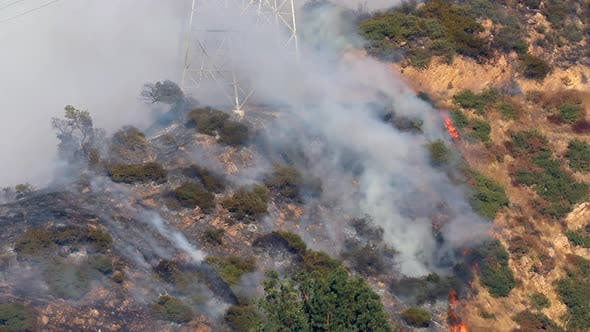 Thumbnail for Massive Wildland Fire in California. Thick Smoke Rises From Burning Trees. Aerial Footage