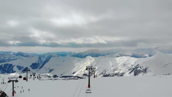 Thumbnail for Cableway Lifting in Winter Ski Resort.