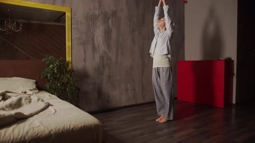 Young Girl Does Yoga Asanas Home Apartment