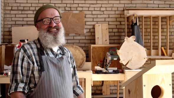 Laughing Woodworker Portrait
